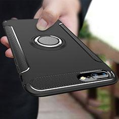 Silikon Hülle Handyhülle und Kunststoff Schutzhülle mit Fingerring Ständer A03 für Apple iPhone 8 Plus Schwarz