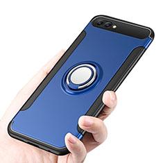 Silikon Hülle Handyhülle und Kunststoff Schutzhülle mit Fingerring Ständer für Huawei Honor 10 Blau