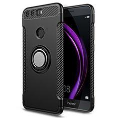 Silikon Hülle Handyhülle und Kunststoff Schutzhülle mit Fingerring Ständer für Huawei Honor 8 Schwarz
