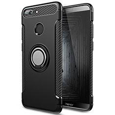 Silikon Hülle Handyhülle und Kunststoff Schutzhülle mit Fingerring Ständer für Huawei Honor 9 Lite Schwarz