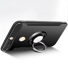 Silikon Hülle Handyhülle und Kunststoff Schutzhülle mit Fingerring Ständer für Huawei Honor V9 Schwarz