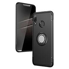 Silikon Hülle Handyhülle und Kunststoff Schutzhülle mit Fingerring Ständer für Huawei P Smart+ Plus Schwarz