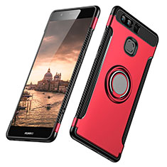Silikon Hülle Handyhülle und Kunststoff Schutzhülle mit Fingerring Ständer für Huawei P9 Rot
