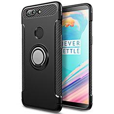 Silikon Hülle Handyhülle und Kunststoff Schutzhülle mit Fingerring Ständer für OnePlus 5T A5010 Schwarz