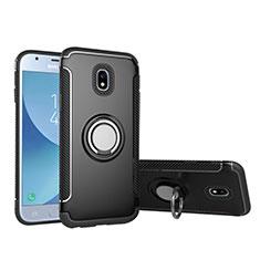 Silikon Hülle Handyhülle und Kunststoff Schutzhülle mit Fingerring Ständer für Samsung Galaxy J5 (2017) SM-J750F Schwarz