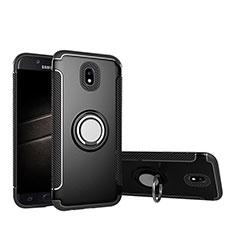 Silikon Hülle Handyhülle und Kunststoff Schutzhülle mit Fingerring Ständer für Samsung Galaxy J5 Pro (2017) J530Y Schwarz