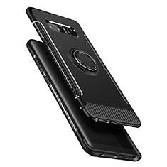 Silikon Hülle Handyhülle und Kunststoff Schutzhülle mit Fingerring Ständer für Samsung Galaxy Note 8 Schwarz