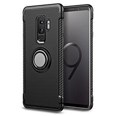 Silikon Hülle Handyhülle und Kunststoff Schutzhülle mit Fingerring Ständer für Samsung Galaxy S9 Plus Schwarz
