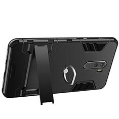 Silikon Hülle Handyhülle und Kunststoff Schutzhülle mit Fingerring Ständer für Xiaomi Pocophone F1 Schwarz