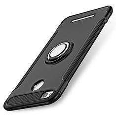 Silikon Hülle Handyhülle und Kunststoff Schutzhülle mit Fingerring Ständer für Xiaomi Redmi 3S Prime Schwarz