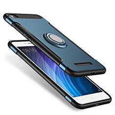 Silikon Hülle Handyhülle und Kunststoff Schutzhülle mit Fingerring Ständer für Xiaomi Redmi 4A Blau