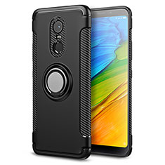 Silikon Hülle Handyhülle und Kunststoff Schutzhülle mit Fingerring Ständer für Xiaomi Redmi 5 Plus Schwarz