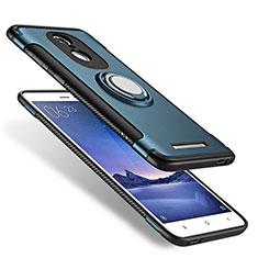 Silikon Hülle Handyhülle und Kunststoff Schutzhülle mit Fingerring Ständer für Xiaomi Redmi Note 3 Pro Blau