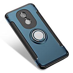 Silikon Hülle Handyhülle und Kunststoff Schutzhülle mit Fingerring Ständer für Xiaomi Redmi Note 4 Standard Edition Blau