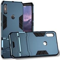 Silikon Hülle Handyhülle und Kunststoff Schutzhülle mit Fingerring Ständer für Xiaomi Redmi Note 5 Blau