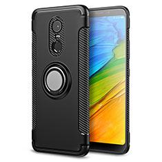 Silikon Hülle Handyhülle und Kunststoff Schutzhülle mit Fingerring Ständer für Xiaomi Redmi Note 5 Indian Version Schwarz