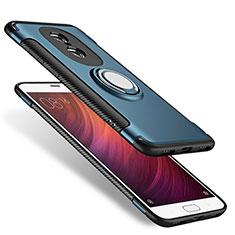 Silikon Hülle Handyhülle und Kunststoff Schutzhülle mit Fingerring Ständer für Xiaomi Redmi Pro Blau