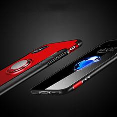 Silikon Hülle Handyhülle und Kunststoff Schutzhülle mit Fingerring Ständer T01 für Apple iPhone Xs Max Rot