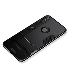 Silikon Hülle Handyhülle und Kunststoff Schutzhülle mit Ständer für Apple iPhone Xs Max Schwarz
