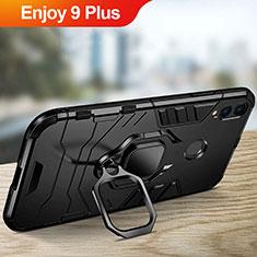 Silikon Hülle Handyhülle und Kunststoff Schutzhülle mit Ständer für Huawei Enjoy 9 Plus Schwarz