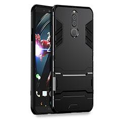 Silikon Hülle Handyhülle und Kunststoff Schutzhülle mit Ständer für Huawei G10 Schwarz