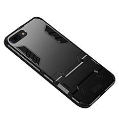 Silikon Hülle Handyhülle und Kunststoff Schutzhülle mit Ständer für Huawei Honor 10 Schwarz