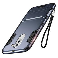 Silikon Hülle Handyhülle und Kunststoff Schutzhülle mit Ständer für Huawei Honor 6X Blau