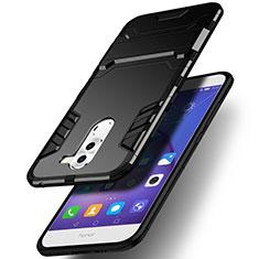 Silikon Hülle Handyhülle und Kunststoff Schutzhülle mit Ständer für Huawei Honor 6X Schwarz