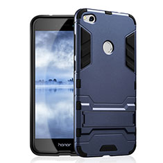 Silikon Hülle Handyhülle und Kunststoff Schutzhülle mit Ständer für Huawei Honor 8 Lite Blau