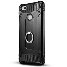 Silikon Hülle Handyhülle und Kunststoff Schutzhülle mit Ständer für Huawei Honor 8 Lite Schwarz
