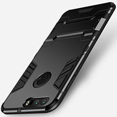 Silikon Hülle Handyhülle und Kunststoff Schutzhülle mit Ständer für Huawei Honor 8 Schwarz