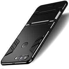 Silikon Hülle Handyhülle und Kunststoff Schutzhülle mit Ständer für Huawei Honor 9 Lite Schwarz