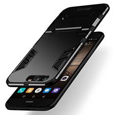 Silikon Hülle Handyhülle und Kunststoff Schutzhülle mit Ständer für Huawei Honor 9 Schwarz