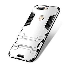Silikon Hülle Handyhülle und Kunststoff Schutzhülle mit Ständer für Huawei Honor V9 Weiß
