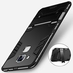 Silikon Hülle Handyhülle und Kunststoff Schutzhülle mit Ständer für Huawei Nova Plus Schwarz