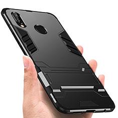 Silikon Hülle Handyhülle und Kunststoff Schutzhülle mit Ständer für Huawei P Smart+ Plus Schwarz