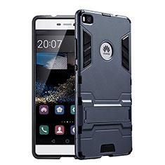 Silikon Hülle Handyhülle und Kunststoff Schutzhülle mit Ständer für Huawei P8 Schwarz