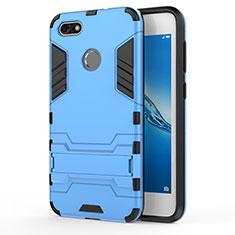 Silikon Hülle Handyhülle und Kunststoff Schutzhülle mit Ständer für Huawei Y6 Pro (2017) Blau