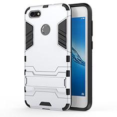 Silikon Hülle Handyhülle und Kunststoff Schutzhülle mit Ständer für Huawei Y6 Pro (2017) Weiß