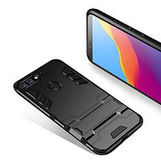 Silikon Hülle Handyhülle und Kunststoff Schutzhülle mit Ständer für Huawei Y7 (2018) Schwarz