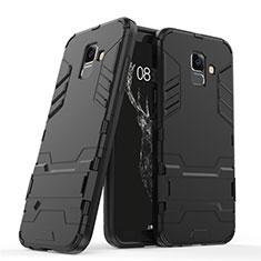 Silikon Hülle Handyhülle und Kunststoff Schutzhülle mit Ständer für Samsung Galaxy A6 (2018) Dual SIM Schwarz