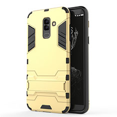 Silikon Hülle Handyhülle und Kunststoff Schutzhülle mit Ständer für Samsung Galaxy A6 Plus (2018) Gold