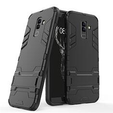 Silikon Hülle Handyhülle und Kunststoff Schutzhülle mit Ständer für Samsung Galaxy A6 Plus (2018) Schwarz