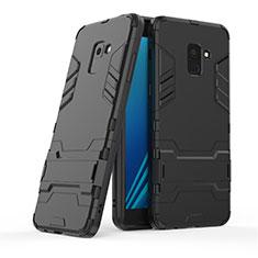 Silikon Hülle Handyhülle und Kunststoff Schutzhülle mit Ständer für Samsung Galaxy A8+ A8 Plus (2018) Duos A730F Schwarz
