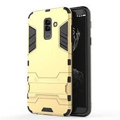 Silikon Hülle Handyhülle und Kunststoff Schutzhülle mit Ständer für Samsung Galaxy A9 Star Lite Gold