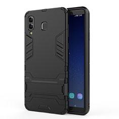 Silikon Hülle Handyhülle und Kunststoff Schutzhülle mit Ständer für Samsung Galaxy A9 Star SM-G8850 Schwarz
