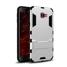 Silikon Hülle Handyhülle und Kunststoff Schutzhülle mit Ständer für Samsung Galaxy C7 SM-C7000 Weiß