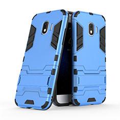 Silikon Hülle Handyhülle und Kunststoff Schutzhülle mit Ständer für Samsung Galaxy J2 Pro (2018) J250F Blau