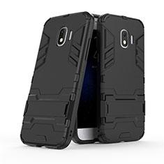 Silikon Hülle Handyhülle und Kunststoff Schutzhülle mit Ständer für Samsung Galaxy J2 Pro (2018) J250F Schwarz