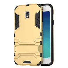 Silikon Hülle Handyhülle und Kunststoff Schutzhülle mit Ständer für Samsung Galaxy J3 Pro (2017) Gold